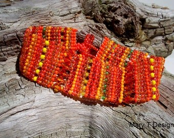 Holiday Sale! Citrus Blend Beadwoven Cuff Bracelet