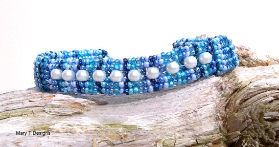SALE - Shades of Blue With Pearl Insets Herringbone Bangle Bracelet