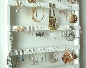 White Stained Post Earring Organizer, Elegant Earring Necklace Organization