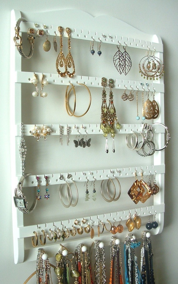 Jewelry Display Earring Holder, 7 Peg Necklace Holder, 90 Pair, Cabinet Grade Semi-Gloss White Paint, Maple, Wood, Boutique Quality & Design