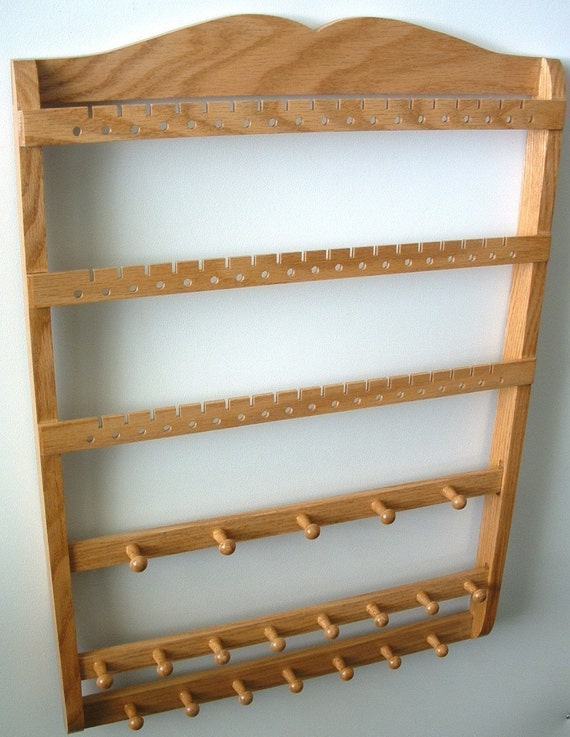 Wood Oak Jewelry Holder, Earring Organizer, Boutique Quality & Design, Wall Mounted, Honey, 3 Jewelry Bars, 54-108 Pairs