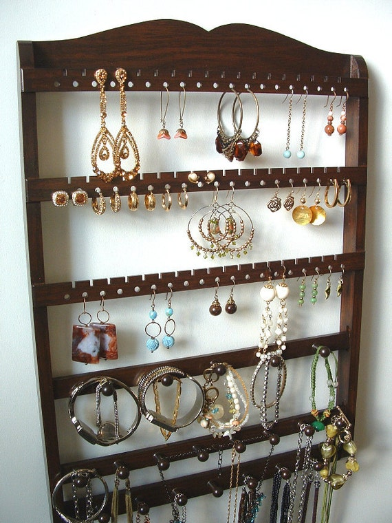 Jewelry Display Holder, Boutique Quality & Design, 20 Peg Bracelet Necklace Holder, 54-108 Pairs, Oak,  Wood, Cocoa Brown, SHIPS 9/10
