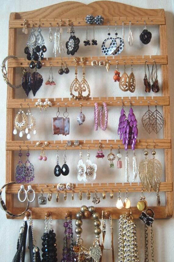 Elegant Earring Holder - Jewelry Holder, 90-180 Pairs, 7 Jewlery Pegs, Honey, Oak Hardwood, Boutique Quality & Design - Ready To Ship