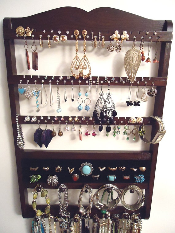 Ring Holder - Jewelry Display,  20 Rings, 54 Plus Pairs, 16 Pegs, Cocoa Brown, Boutique Quality & Design, Great MOTHER'S DAY GIFT, rts