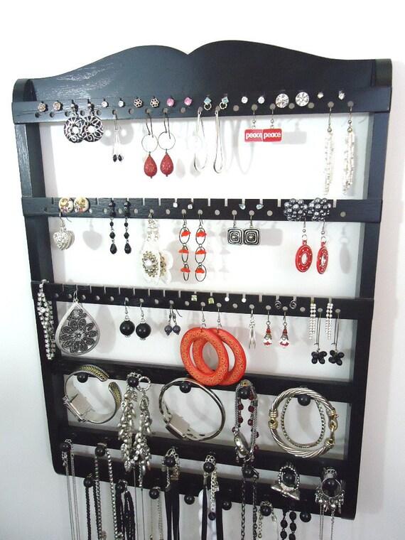 Jewelry Display, Earring Holder, Boutique Quality & Design, 20 Peg Bracelet Necklace Holder, 54-108 Pairs, Ebony, Oak, Wood, Ships 9/28