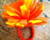 Orange and Yellow Pom Pom Felt Hair Bow Ponytail Holder Cheerleading