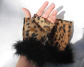 Leopard Fingerless Gloves with Feathers