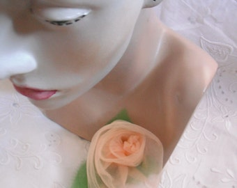 Peach Tulle Rose Pin