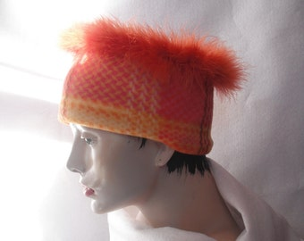 HAT Plaid Fleece Band with Feathers tangerine tango