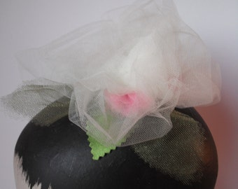 Ivory Tulle Roses Headpiece