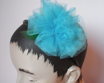 Roses Headpiece  Aqua Tulle