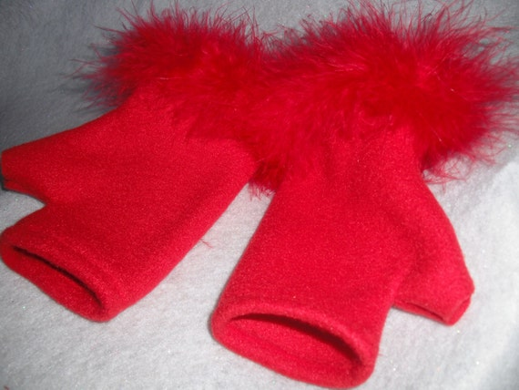 RED Handwarmers, fingerless gloves, feather trim
