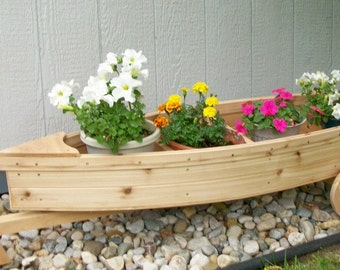 Nautical all cedar boat and trailer finished (painted and/or stained and sealed) outdoor landscape garden box planter lawn or yard ornament