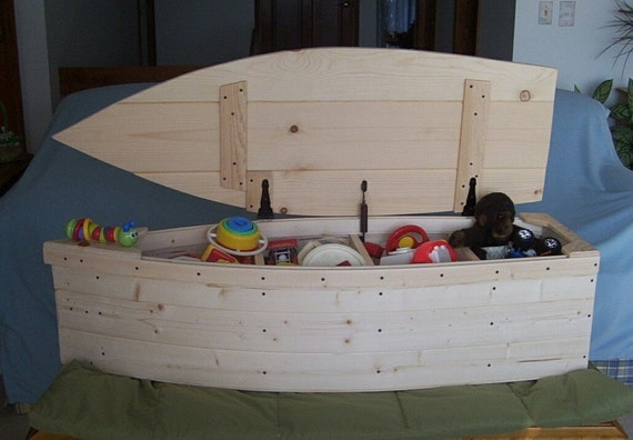 Wood Boat Toy Box Nautical Chest Hand Crafted Bookshelf Canoe