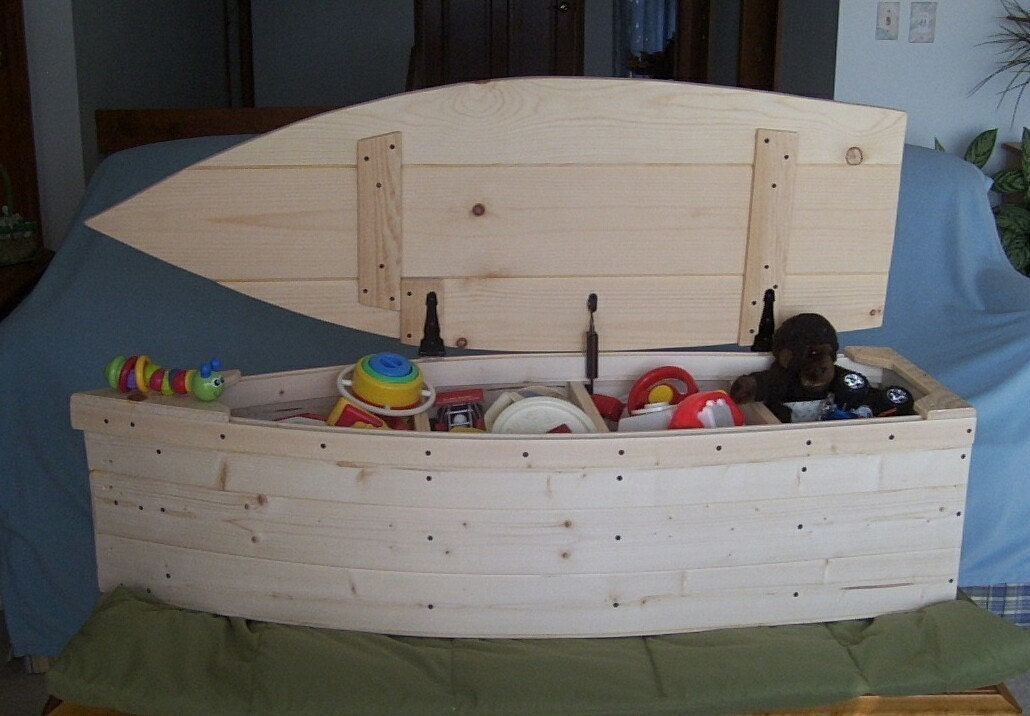 Wood boat toy box nautical chest hand crafted by poppasboats for Boat mailbox