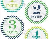 Monthly Milestone Stickers- Boys monthly bodysuit stickers- Baby month stickers- Monthly baby stickers- optional Gerber ONESIE- BOY168