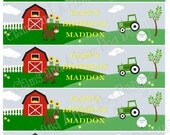 Customized Water Bottle Labels- Includes Child's Name- childrens farm theme birthday party decorations with personalized name