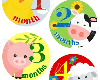 Farm Animal Monthly baby Stickers- monthly milestone stickers- Barnyard Baby month stickers- Monthly baby stickers- Baby shower decor-NEU112