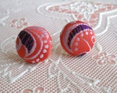 coral and purple- fabric covered button - stud earrings