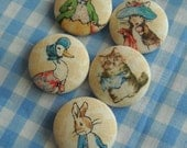 Peter Rabbit- fabric covered button collection - size 45