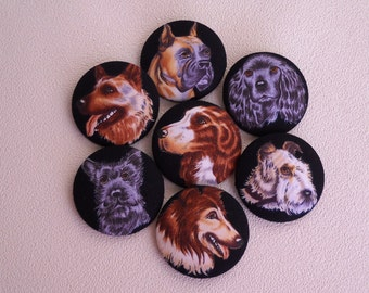 All my dogs - giant fabric covered button collection