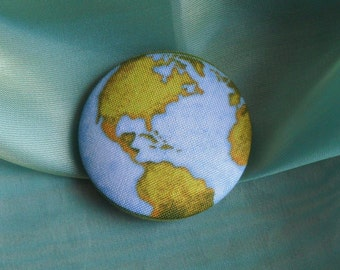 it a wonderful world- extra large fabric covered button size 75