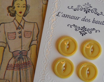 yellow vintage buttons- set of 4