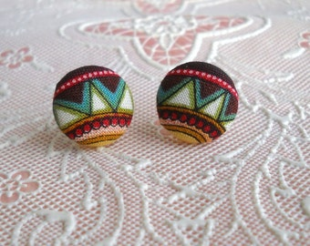 folk art- fabric covered button - stud earrings