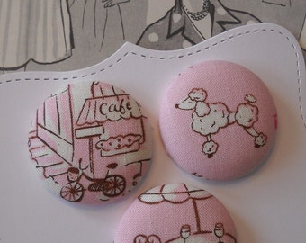 Pink Paris- fabric covered button collection 1 - size 60
