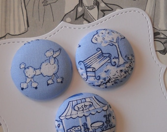 Blue Paris- fabric covered button collection 2 - size 60