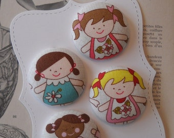 New- sugar and spice- fabric covered button collection 1 - size 60