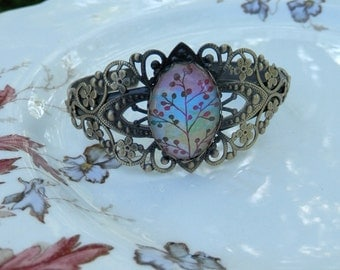 "antique gold filligree style cuff ""Spring"""
