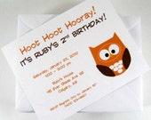 Custom Hoot Birthday Invitations (set of 12)