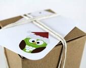 Santa Owl Christmas Tags, Hang Tags, Christmas Gift Tags, Christmas Tags, Holiday Tags - (set of 12)