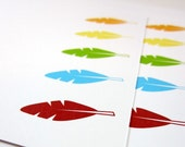 Feather Note Cards, Southwest Cards, Flat Note Cards, Stationery Set - set of 8