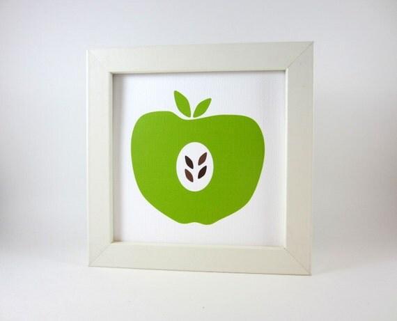 Items similar to green apple wall art print home decor - Green apple kitchen decor ...