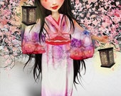 Fine Art Print 'Shurayuki' Medium Sized 8x10, 8.5x11, 11x17 OR 13x19 Medium to Large Art Print Big Eyed Geisha in Pink and Red Snow