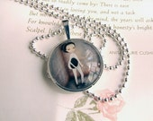"Glass Art Necklace ""The Fencer"" Pendant and Chain 1 inch with Organza Bag -  Cute little Fencing Girl in Light Lavender Tones"