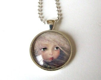"""Art Necklace """"Spring"""" Real Glass Made From Original Art Print 1 inch Sized with Organza Bag"""