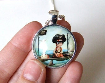 """Art Necklace - """"Diego"""" - Little Pirate Boy - Real Glass Pendant and Chain -  1 inch Sized with Organza Bag"""