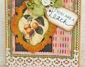 You're a Peach Handmade Friendship Valentine or Thank You Card
