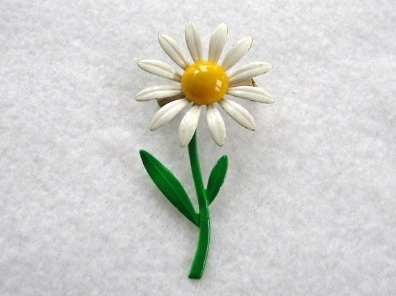 Vintage Enameled Flower Pin or Brooch Daisy on a Stem with Leaves