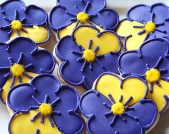 Purple Pansy Cookies 1 dozen