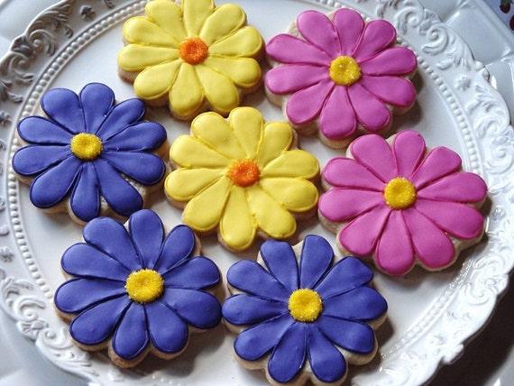Bright Gerber Daisy Cookies 1 dozen