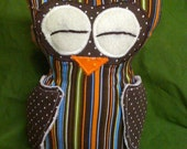 Brown With Stripes Sleepy Owl with Minky Wings SALE