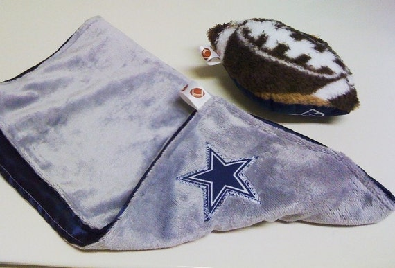 Dallas Cowboy's Solid Minky and Satin Baby Blanket With Football Toy Gift Set