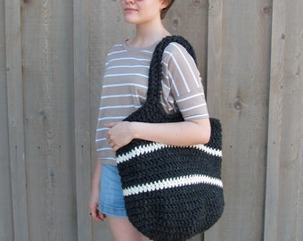big crochet bag in charcoal and cream