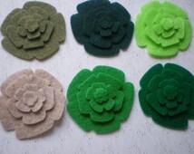 48 Pcs. Die Cut Felt Flowers  (Style R5) Olive, Hunter Green, Neon Green, Sandstone, Apple Green, Pirate Green