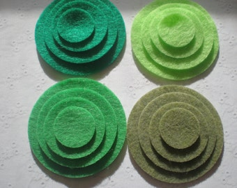 48 Felt Die Cut Circle Pieces (Style C8)Pirate Green, Green Apple, Neon Green, Olive