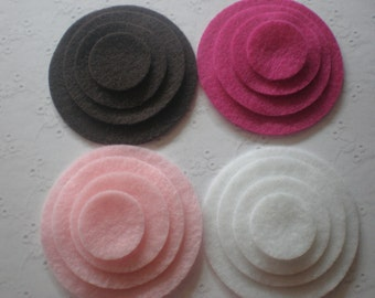 48 Felt Die Cut Circle Pieces (Style C9) Chocolate , Baby Pink, Fuschia, White